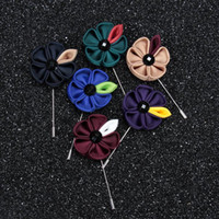 Wholesale Pin Sun - Fashion Hot Sale Lapel Flower Sun Flower Handmade Boutonniere Stick Brooch Pin Mens Accessories 15 Color