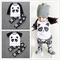 ingrosso vestito nero dei ragazzi 12-Ragazzi Panda T Shirt Pants Set in cotone stampato a maniche corte T-shirt a maniche corte T-shirt Suit Kid INS 2016 New Summer Autumn Black White