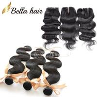 top kopf haarverlängerungen großhandel-Voller Kopf Lace Closure mit Bundles Brazilianhair Extensions 3PCS + 1PC (4x4) Menschenhaar Top Closure mit Körperwelle Bundles Bella Hair