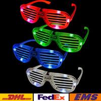 led g12 toptan satış-Yeni LED Işık Gözlük Panjur Gözlük Led Flaş Gözlük Güneş Gözlüğü Danslar Parti Malzemeleri Festivali Dekorasyon Noel WX-G12