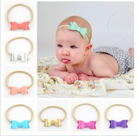 Wholesale Nylon Infant Headbands - free shipping 50pcs 12 Color 2016 Newborn & Infant Toddler Felt Bow With Solid Elastic Nylon Headband,For Kids & Girls Baby hairband FD196