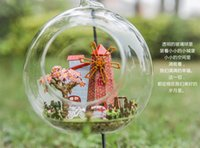 Atacado Diy Doll House Mini Glass Ball Model Building Kits Handmade Wooden Miniature Dollhouse Toy Crianças Gift-house of Dutch windmill