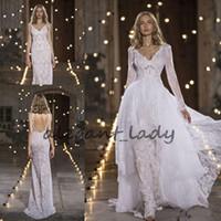 Wholesale Organza High Neck Wedding Jacket - Nurit Hen 2018 Modest Mermaid Wedding Dresses with Long Sleeve Robe Jacket Whole Lace Custom Make Princess Garden Wedding Gowns