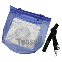 Wholesale Waterproof Floating Camera Bag - 20M Blue Waterproof Digital Camera DSLR SLR Case Underwater Diving Floating Pouch Housing Dry Bag For Canon For Sony For Nikon