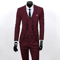 Wholesale Mans Tuxedo Vest Sets - Wholesale-Men 3 Piece Suits Set Jacket+Pants+Vest Brand Costume Clothing Formal Dress Wedding Suit For Homme Groom Business Tuxedos 22