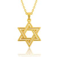 pingente de estrela judaica venda por atacado-Banhado a ouro 18k clássico simples unisex judaica estrela de david colar de pingente