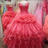 Wholesale Dresses Coral Watermelon - Vintage Plus Size Watermelon Organza Quinceanera Dresses Tiers Beaded Corset Sweet 16 Party Gowns Vestidos de 15 2016 Pageant Ball Gowns