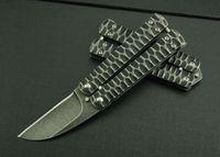 Wholesale Handmade Pocket Knives - OEM Benchmade Balisong Knives Stonewashed Handmade 3Cr13Mov 55HRC Tactical Hunting Camping Pocket Folding Knives Outdoor Utility EDC Tools