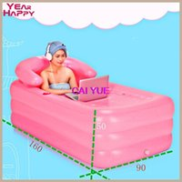 aufblasbare fußpumpe großhandel-Tragbare Badewanne Erwachsene Kunststoff aufblasbare Badewanne Erwachsene Falten Inflavel aufblasbare 165 X 90 X 50 cm + Fuß Luftpumpe