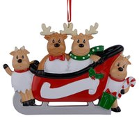 Wholesale Miniature Christmas Ornaments - Maxora Resin Reindeer Family Sled Family Of 4 Christmas Ornaments Personalized Gifts For Holiday or Home Decor Miniature Craft Supplies