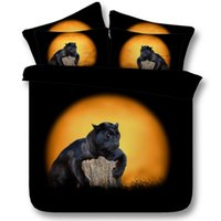 Wholesale King Size Panther Bedspreads - Moon Animal Black Panthers Comforter Bedding sets Panther duvet cover set bed sheet sheets bedspread California King queen size 5PCS bedshee
