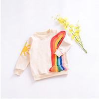 Wholesale Rainbow Girl Tops - Autumn Baby Girls Tee Shirt New Long Sleeved Hoodie Cartoon Rainbow Printed Tassels Kids Sweater Kids Casual Tops C1901