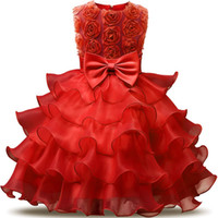 Wholesale Cheap Turquoise Flowers - 2018 Vintage Red Turquoise Blue Pink Toddler Baptism Clothes Flower Girl Dresses Knee Length With Lace Bow Flowers Tutu Ball Gowns Cheap
