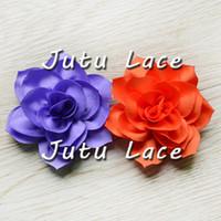 Wholesale Wholesale Wedding Dress Satin Fabric - Fashion chiffon puff flower, Beautiful handmade satin petals fabric flowers, Bridal Wedding dress collar accessories car scallop Flower