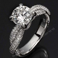 Wholesale Si Diamond Ring - Wholesale - Victoria Wieck Luxury Jewelry Dinosaur claw Set 3ct Diamonique CZ Diamond 14KT White Gold Filled Wedding Band Rings for Women Si