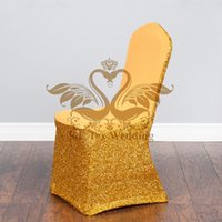 Wholesale Wholesale Fabric For Chair Covers - Gold Lycra Spandex Chair Cover With Shiny Sequin Gold Fabric For Wedding