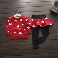 Wholesale Girls Pantskirts - 2016 Autumn New Girl Fashion Sets Love Heart Long Sleeve Sweatshirts+Pantskirts Outfits Children Clothing 8002
