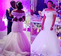 Wholesale Wedding Collar Shoulder - African Mermaid Wedding Dresses Off The Shoulder Beaded Collar Illusion Tulle Plus Size Wedding Dress Back Lace Up Floor Length Bridal Gowns