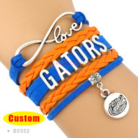 Bracelet Bleu-orange Pas Cher-Infinity Love Floride Gators Athletic Team Bracelet Bleu Orange Cheer bracelets Femme Homme Fille Lady Bijoux Cadeau-personnalisé - Drop Shipping