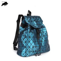 Wholesale thread crochet pattern online - 3D irregular geometric pattern backpack new men and women Lingge stitching drawstring sports shoulder bag