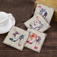 Wholesale Vintage Cup Holder - Wholesale- LINKWELL 4pcs set 10x10cm Vintage High Heel ZAKKA Creative Gift Place PU Leather Bar Coaster Table Cup Holder Drink Placemat Mat