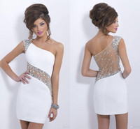 Wholesale See Through Black Short - Sparkly Crystal Blush 2016 Homecoming Dresses Cocktail One Cap Sleeve Cheap In Stock Short Mini Sheath Illusion See Through Back CPS207