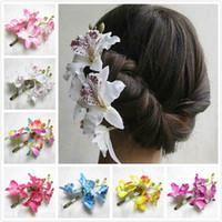 orkide saç klipleri düğün toptan satış-Kadınlar Kelebek Orkide Çiçek Saç Klip Gelin Düğün Balo Parti Barrette Pin Gelin Gelinlik Büküm Headdress Çiçek Firkete