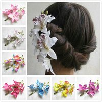 Wholesale prom hair pins - Women Butterfly Orchid Flower Hair Clip Bridal Wedding Prom Party Barrette Pin Bride Bridesmaid Twist Headdress Flower Hairpin