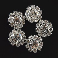 Wholesale Rhinestone Floral Bling Wholesale - 15mm Shiny crystal rhinestone alloy button girls Children hair accessories Flowers clear rhinestone bling round rhinestone B281