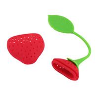 filtros verdes rojos al por mayor-Fruta Fresa Forma Silicona Té Infusor Filtro Filtro Hierbas Especias Hoja Verde Rojo Bolsa de té