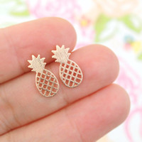 Wholesale Kid Earrings Wholesale - Wholesale Pineapple Stud Earrings Silver Gold Rose Gold Plated Earring Jewelry Women Kids Love Fruit Earings Party Jewelry
