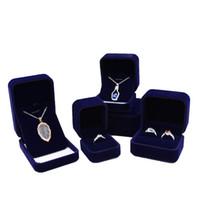 ingrosso orecchini dell'anello del braccialetto blu della collana-Scatola regalo di gioielli Mazarine Velvet anello blu scuro gemello orecchino pendente ciondolo collana braccialetto braccialetto spilla imballaggio scatole di gioielli