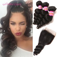 Wholesale Wholesale Weaves Extensions Malaysia - Malaysia Loose Wave Human Hair Weft 3 Bundle With Lace Closure Malaysian Loose Curly Hair Weaves With Closure Cheap Malaysian Hair Extension