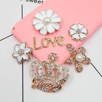 Wholesale Diamond Phone Case Diy - DIY Crown with Diamond Accessories for Mobile Phone Case Handmade Flower Pendants