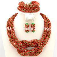 joyas de coral rojo indio al por mayor-conjuntos de joyas de boda coral rojo verde Crystal Rhinestone Costume Jewellery Set Collar de mujeres indias nupciales Set 2 filas cuentas africanas