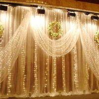 Wholesale Outdoor Waterfall Led Light - 6Mx3M 600LED Waterfall Outdoor Christmas Xmas LED String Fairy Wedding Event Curtain Holiday Light 220V Home Garden Clubs Hotels