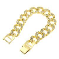 Wholesale 14k Cuban Link Bracelet - New Men's Luxury Simulated Diamond Bracelets High Quality 14k Gold Silver Plated Iced Out Miami Cuban Bracelet Hip Hop