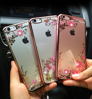 Wholesale Diamante Iphone Covers - Slim Crystal Chrome Edge Bling Diamante Rhinestone TPU Silicone Phone Case Cover For Iphone 6 6S Apple Phone Cases With Opp package
