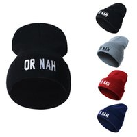 Wholesale Yarn For Sale Wholesale - Designer OR NAH Letters Embroidery Beanies Hats Hip Hop Word Winter Hat For Adults Mens Womens Head Ear Warmer Acrylic Knitted Snow Cap Sale