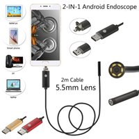 Cabo 2M 5,5 mm 6 Leds IP67 impermeável usb endoscópio Android OTG Snake Tube Pipe 5cm 480P Mini Surveillance Inspection Camera