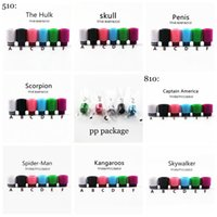 Wholesale Skull Plastic Drip Tip - 810 thread plastic drip tips skywalker kangaroo spiderman captain america 510 drip tip skull scorpion hulk mouthpiece for baby tfv8 tfv12