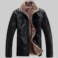 Wholesale Mens Leather Top Coat - Fall-6XL Large size men leather jacket Top quality business casual mens leather jackets and coats,winter plus velvet jaqueta couro
