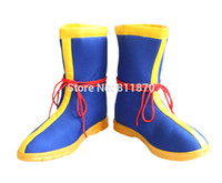 Wholesale Yellow Costume Boots - Wholesale-Dragon Ball Cosplay Son Goku Men's Shoes Dunk High Short Boots