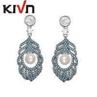 Wholesale Pink Feather Chandelier - KIVN Fashion Jewelry Feather Dangle CZ Cubic Zirconia Womens Wedding Bridal Simulated Pearl Earrings Mothers Day Birthday Gifts
