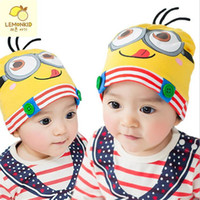 Wholesale Knitted Minion Caps - 2016 New Arrivals Spring& Autumn Children Baby Boy Girl Hat Catoon Minions Baby Hat Knitted Warm Cotton Toddler Beanie Baby Cap