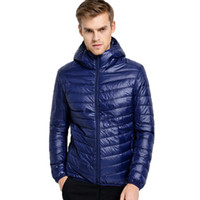 Wholesale ultralight parka - Fall-2016 New Winter Down Jacket Men 90 White Duck Down Jacket Ultralight Down Jacket With Hood Outdoor Parka Chaqueta Pluma Hombre