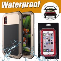 Impermeável Armor Defender Shockproof Dropproof Extreme Aluminium Rain-Waterproof Metal Cover Case para iPhone X 8 7 Plus 6S Tempered Glass