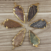 Wholesale Natural Gemstone Agate - Free Shipping Mixed Natural Jasper Arrowhead Pendant, Gold Plated Multicolored Jasper Arrow head Charm Agate Gemstone Pendant (SD48_32)