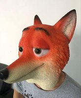 Wholesale Design Headgear - PrettyBaby Zootopia Fox Nick design headgear high quality safety silicone mask kids jokes toys cosplay party 200pcs Lot free shipping