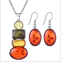 Wholesale Amber Insect Necklace - Beeswax insect amber color explosion models jewelry sets necklace earrings jewelry set fashion trend spring and autumn women essential
